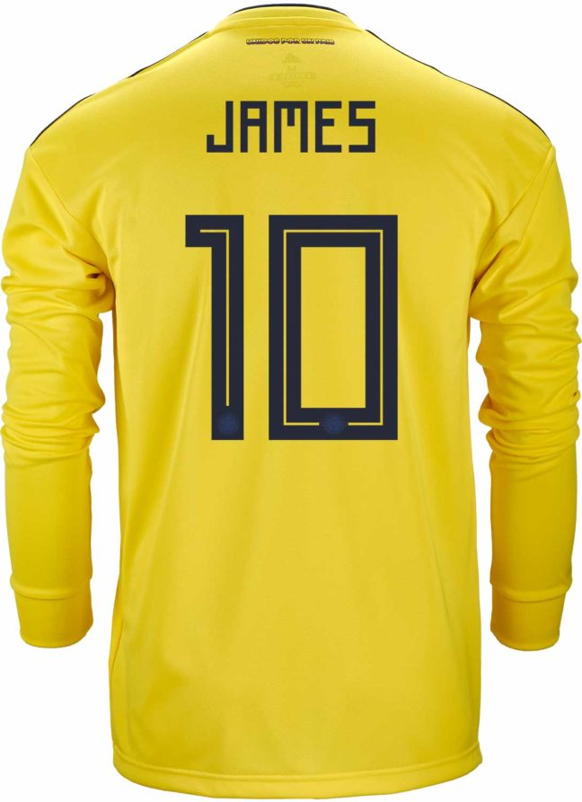 adidas James Rodriguez Colombia L/S Home Jersey 2018-19
