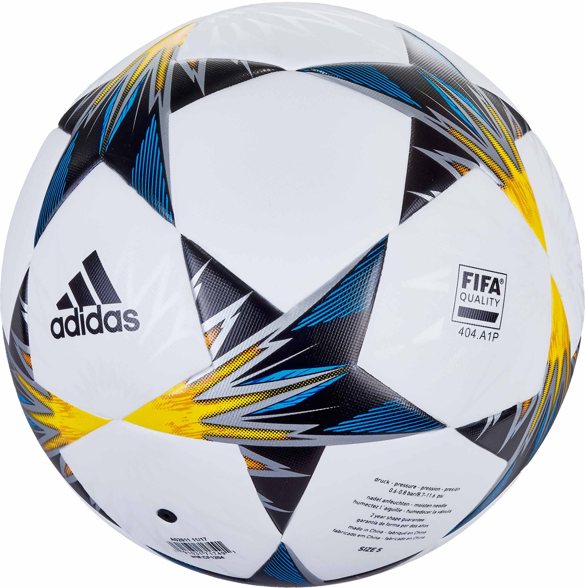adidas Finale Kiev Top Trainer Soccer Ball – White Solar Yellow 8339ffbe3c