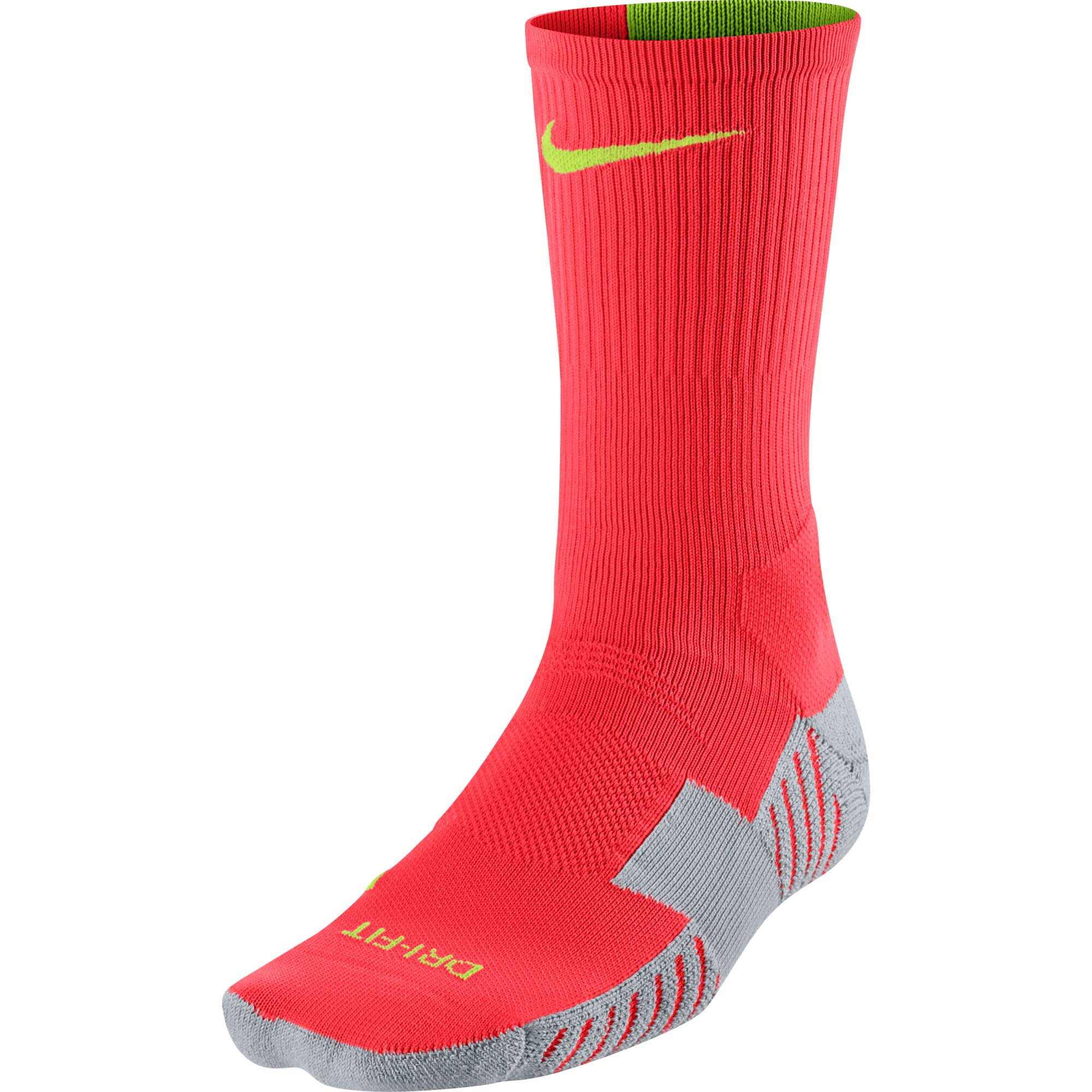 Nike Match Fit Soccer Crew Sock - Red and Grey - SoccerPro