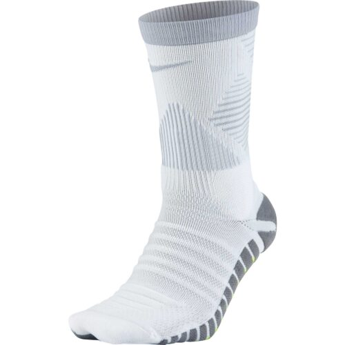 Nike Strike Mercurial Crew Sock – White & Wolf Grey