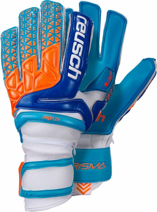 Reusch Prisma Pro AX2 Ortho-Tec Goalkeeper Gloves – White/Aqua Blue
