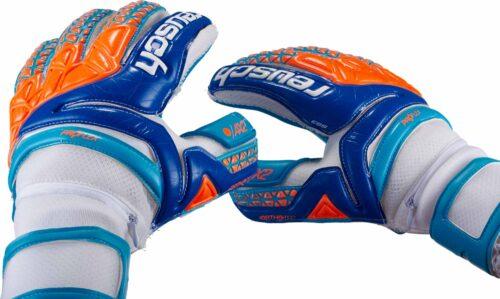Reusch Prisma Pro AX2 Ortho-Tec Goalkeeper Gloves – White/Aqua Blue