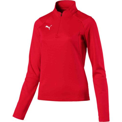 Womens Puma Liga 1/4 zip Drill Top – Red