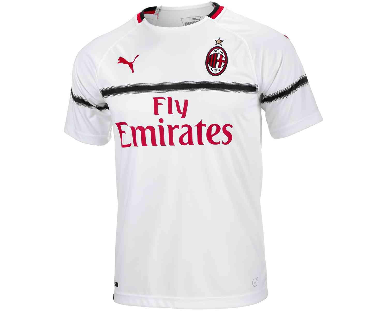finest selection e16c5 4bb58 PUMA AC Milan Away Jersey - White/Chili Pepper - SoccerPro