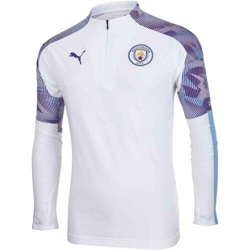 PUMA Manchester City 1/4 Zp Top – White/Team Light Blue