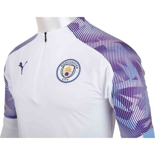 PUMA Manchester City 1/4 Zp Top – White/Team Light Blue