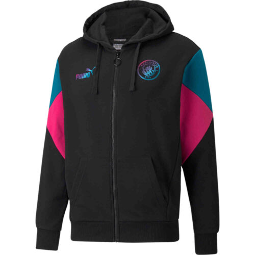 PUMA Manchester City Ftbl Culture Full-zip Hoodie – Black/Ocean Depths