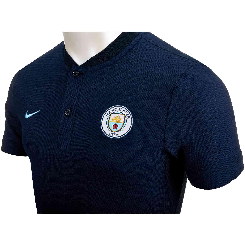 online store e3ab1 5e32d Nike Manchester City Grand Slam Polo - Dark Obsidian/Field Blue - SoccerPro