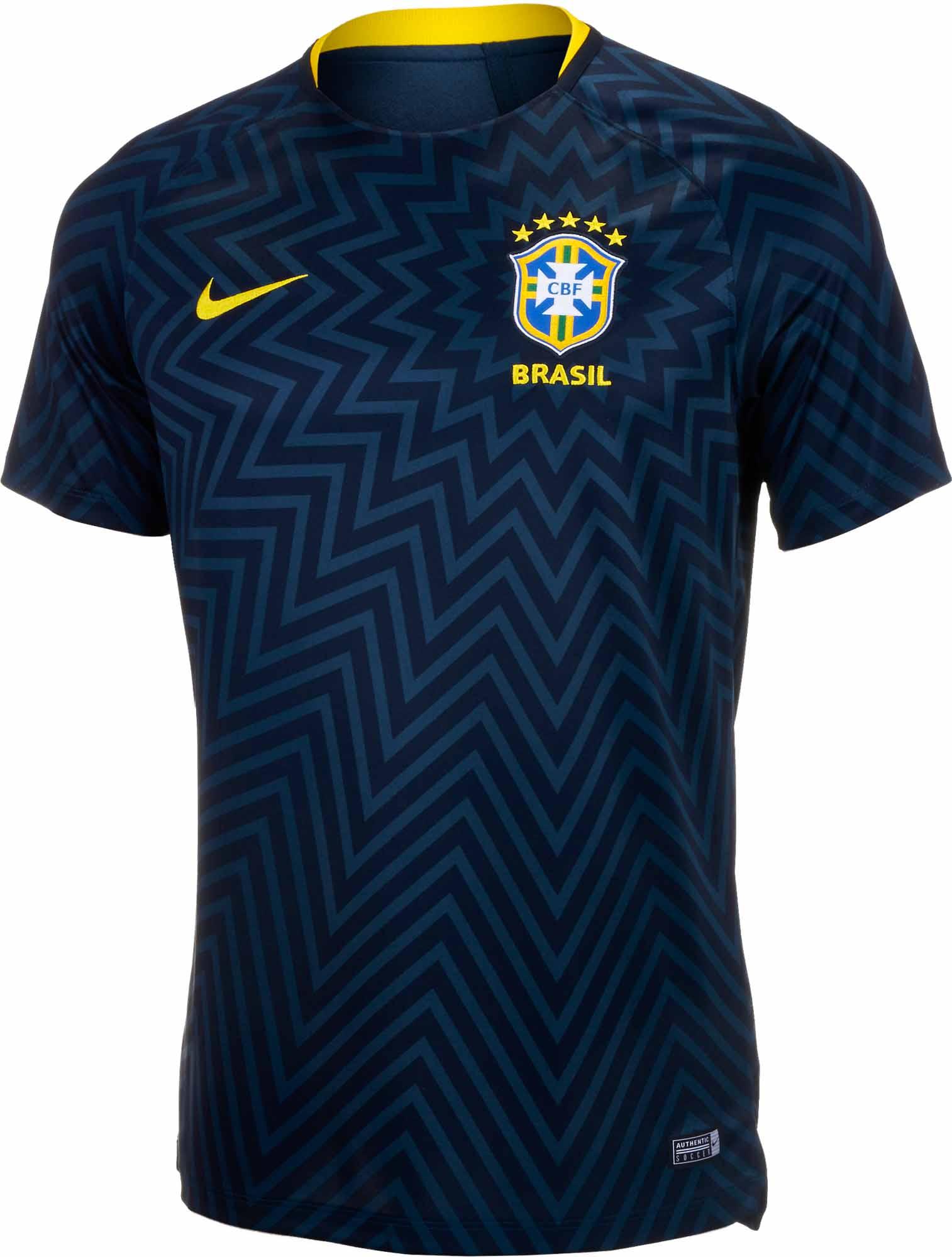 Nike Jersey Brazil Pre Match Jersey Nike Youth 2018 19 SoccerPro adcf2a