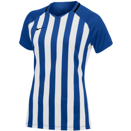 Womens Nike Striped Division III Jersey – Game Royal/White