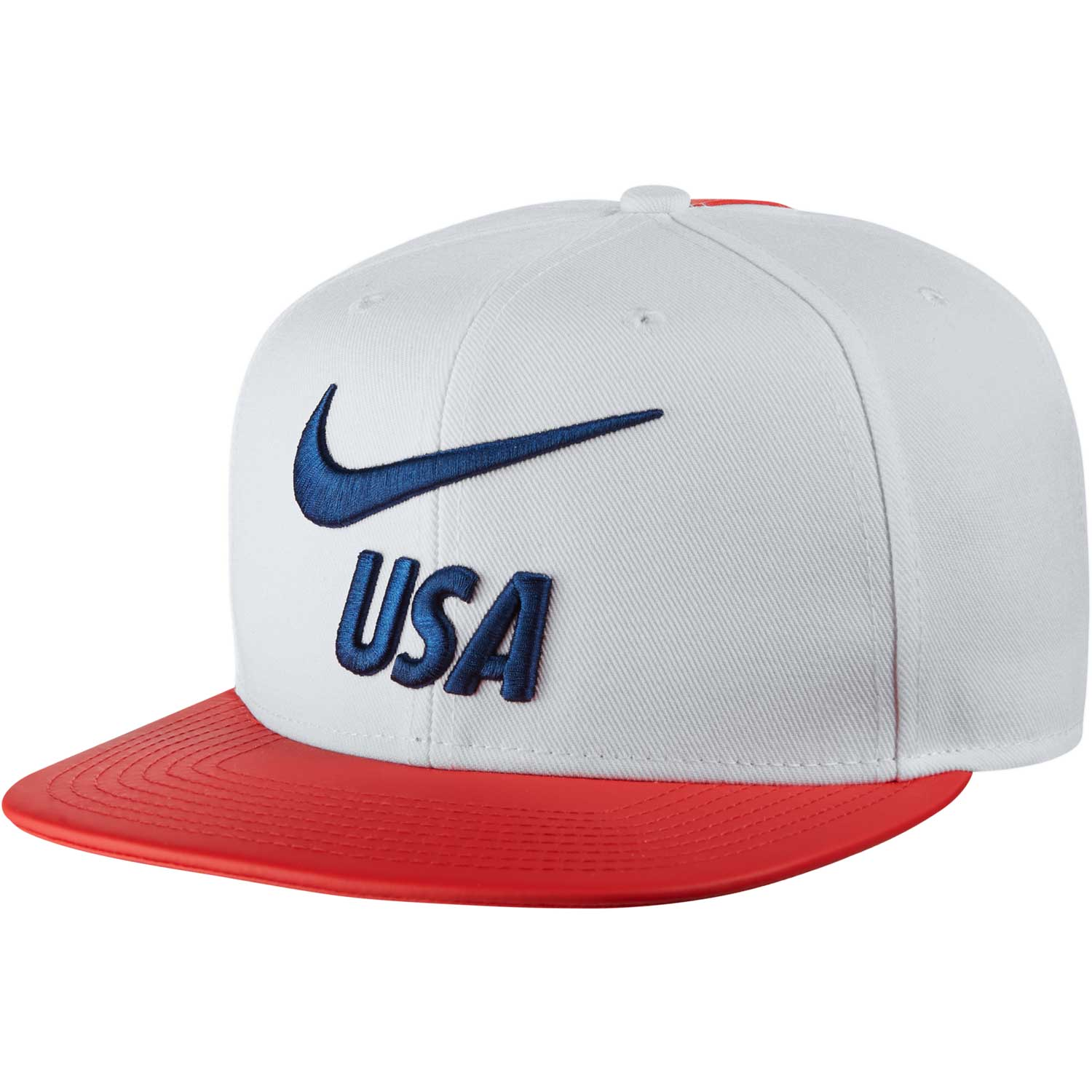 324a0a8c85d2e Nike USA Pride Flat Bill Cap - White Speed Red Gym Blue - SoccerPro