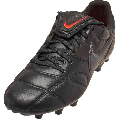 Nike Premier II FG – Black & Dark Smoke Grey with Chile Red