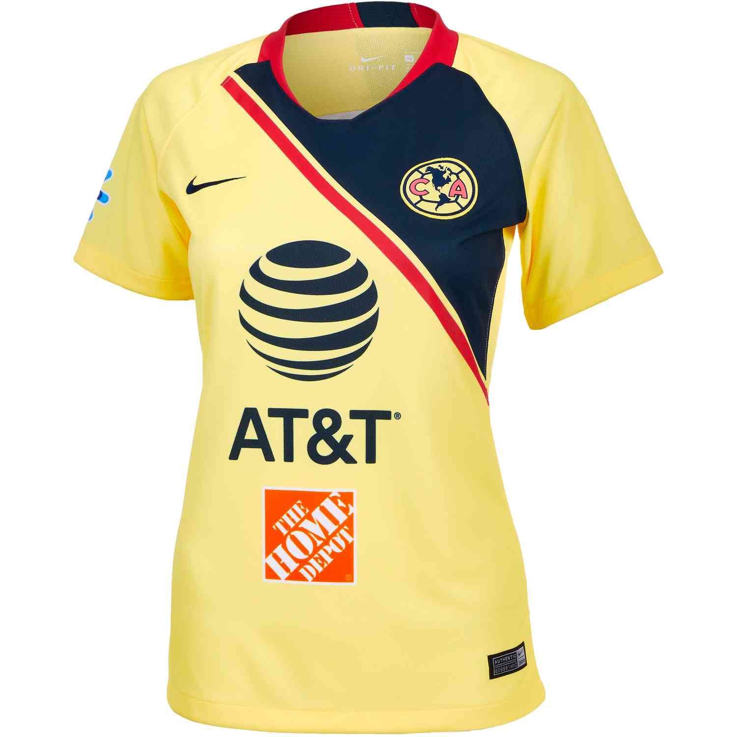 59fe1e396 Nike Club America Home Jersey – Womens – Lemon Chiffon Gym Red Armory Navy