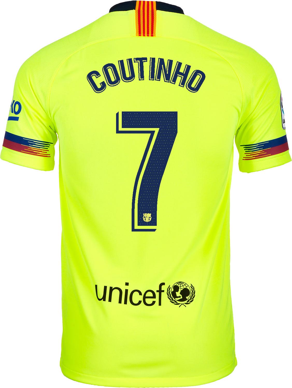 dbfc926d584 2018 19 Kids Nike Philippe Coutinho Barcelona Away Jersey - SoccerPro