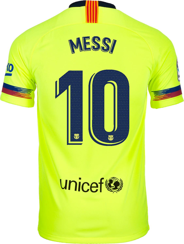 fed352653 2018 19 Kids Nike Lionel Messi Barcelona Away Jersey - SoccerPro
