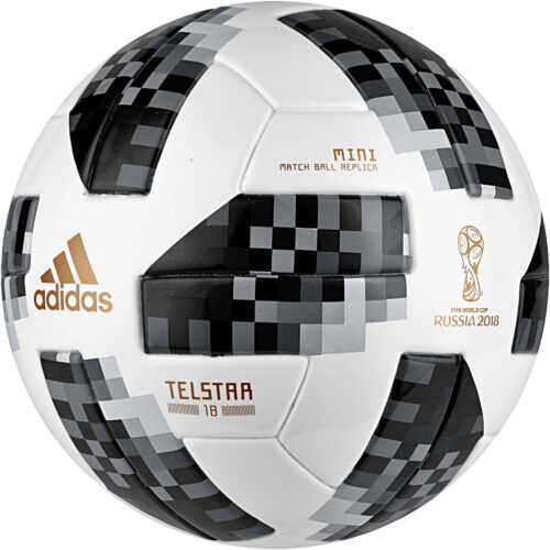 adidas Telstar 18 World Cup Mini Ball – White/Metallic Silver