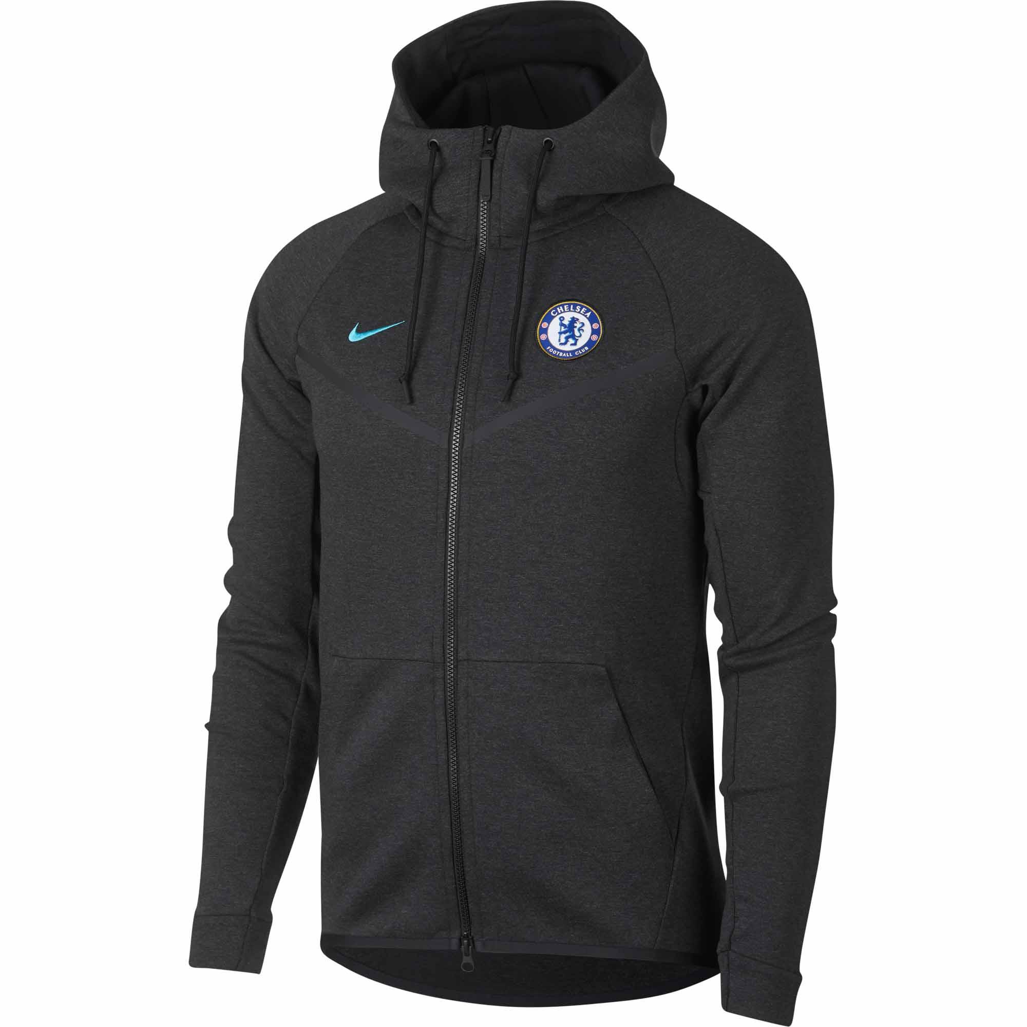 official photos f5170 8ec09 Nike Chelsea Tech Fleece Windrunner Jacket – Black Heather/Omega Blue