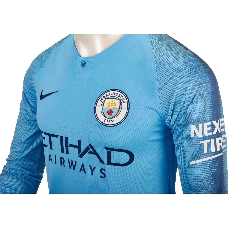 Nike Manchester City Home L/S Jersey 2018-19 - SoccerPro