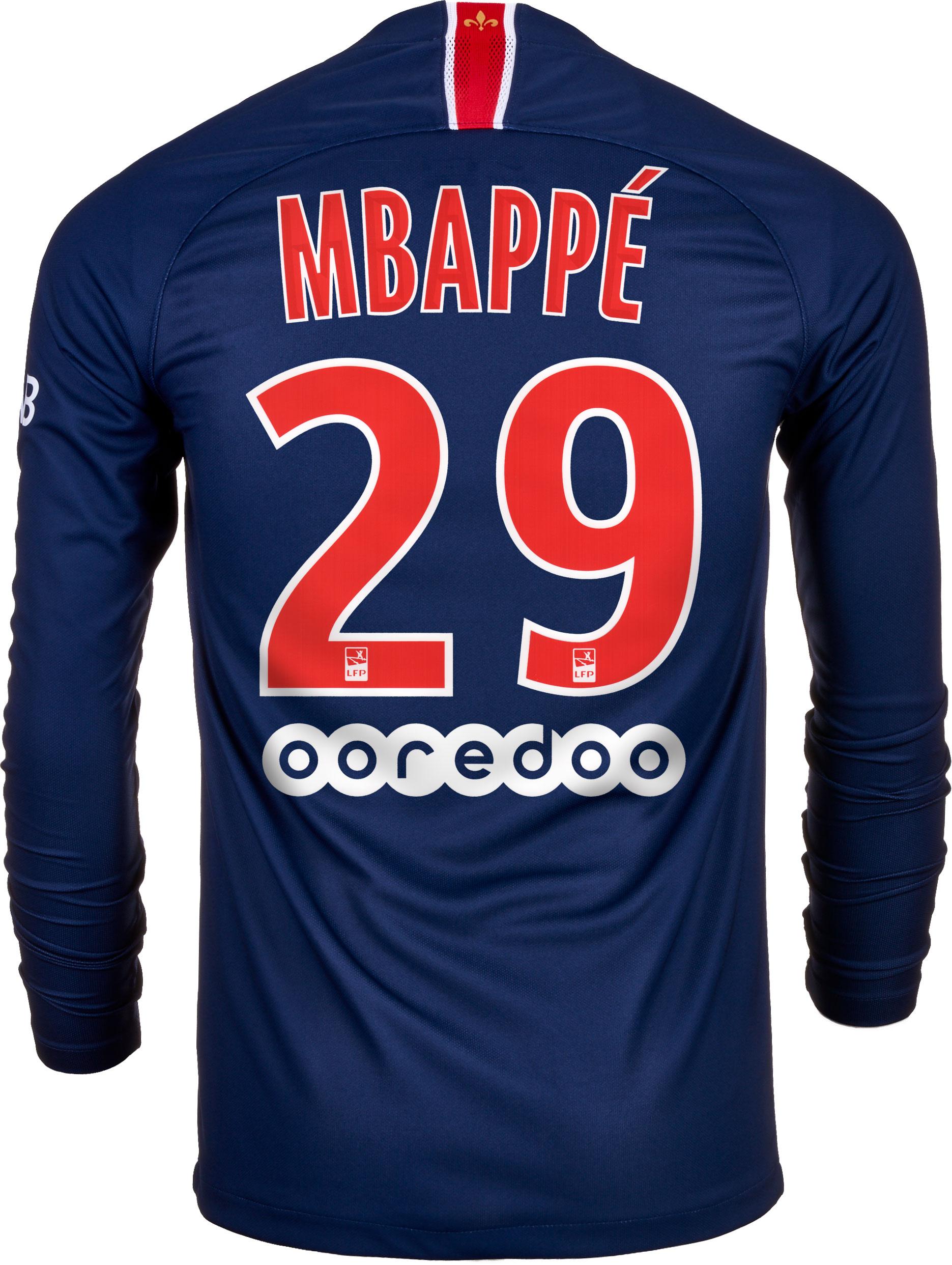 bda8f299d51 Nike Kylian Mbappe PSG Home L S Jersey 2018-19 - SoccerPro