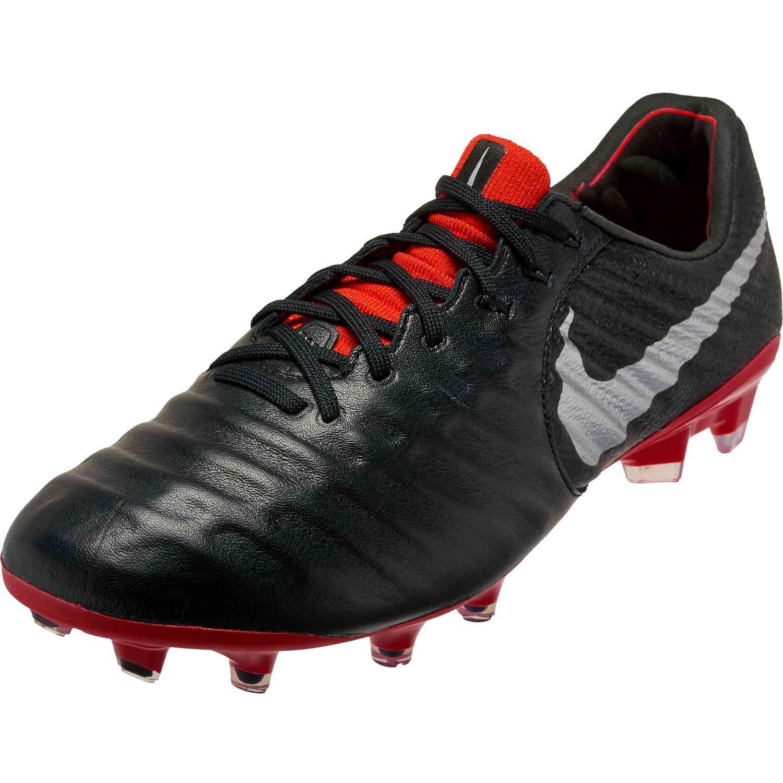 Nike Tiempo Legend 7 Elite FG - Black Metallic Silver Light Crimson ... db50d7bab