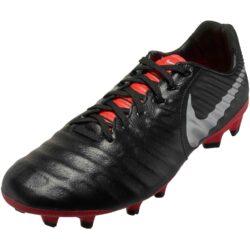 d0dcde51e087 Nike Tiempo Legend 7 Pro FG - Black/Metallic Silver/Light Crimson -  SoccerPro
