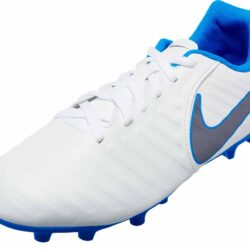 9c8f48eb3 Nike Tiempo Legend 7 Club FG - Youth - White Metallic Cool Grey Blue Hero -  SoccerPro