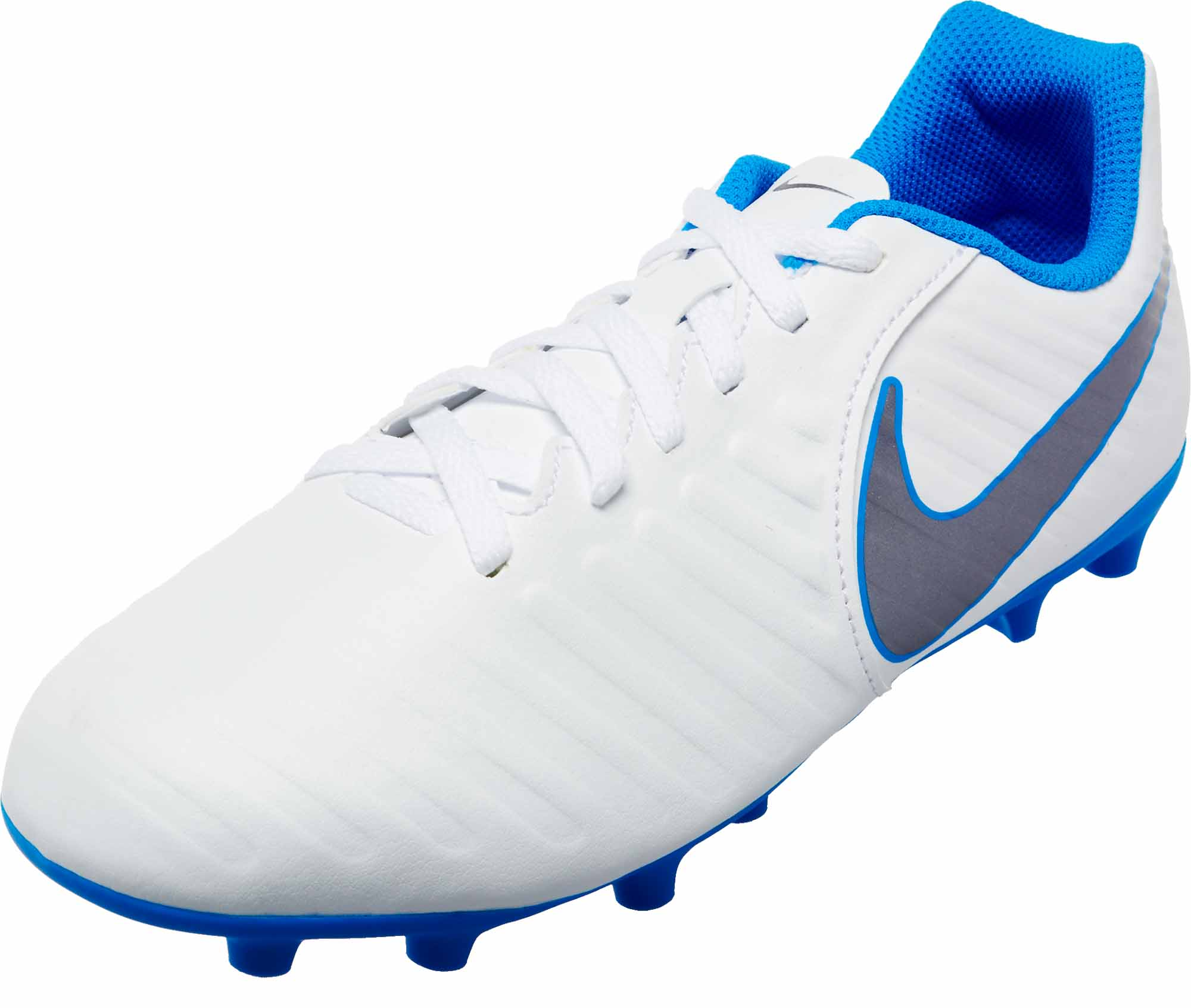 aee56da9658 Nike Tiempo Legend 7 Club FG - Youth - White Metallic Cool Grey Blue ...