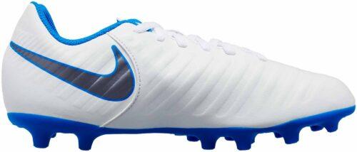 Nike Tiempo Legend 7 Club FG – Youth – White/Metallic Cool Grey/Blue Hero