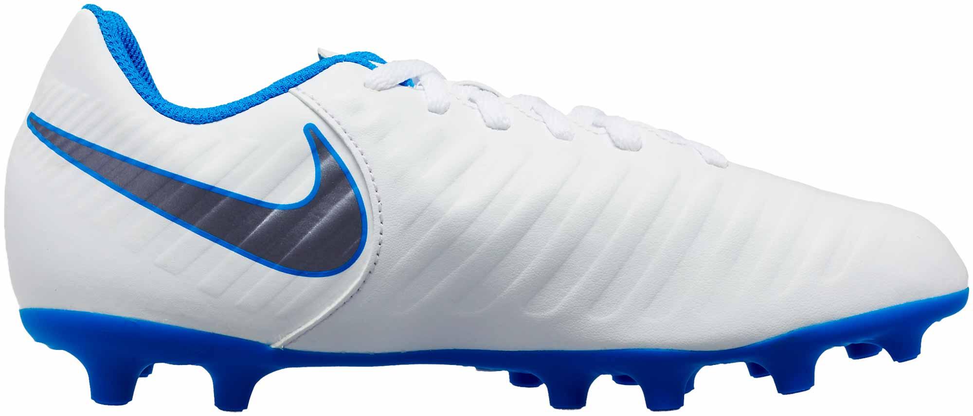 67a2e86436b Nike Tiempo Legend 7 Club FG - Youth - White Metallic Cool Grey Blue ...