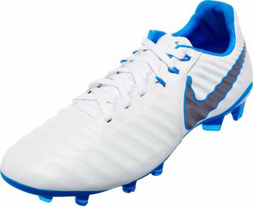 Nike Tiempo Legend VII Elite FG – Youth – White/Metallic Cool Grey/Blue Hero
