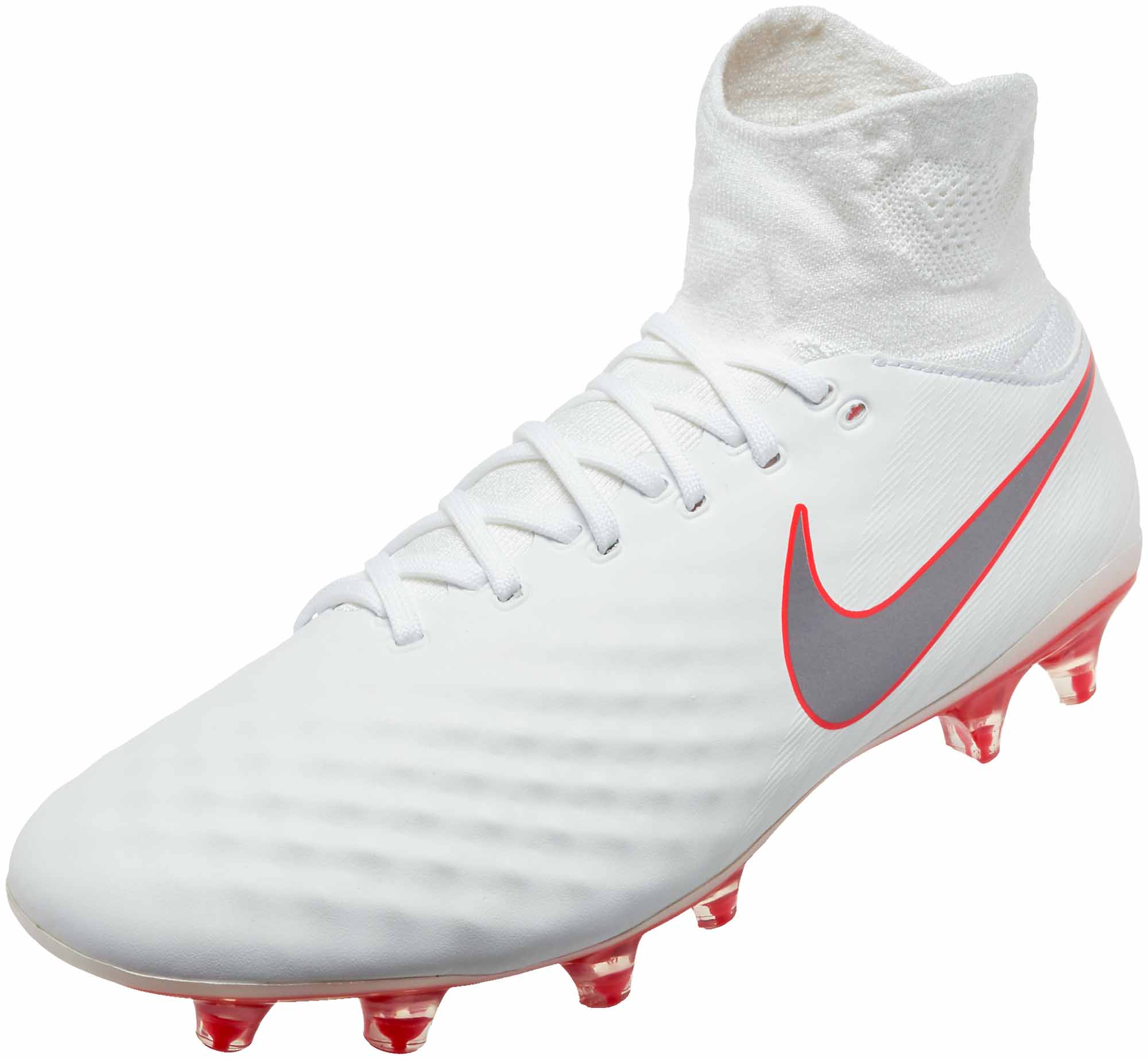 729579176410 Nike Magista Obra II Pro DF FG - White Metallic Cool Grey - SoccerPro