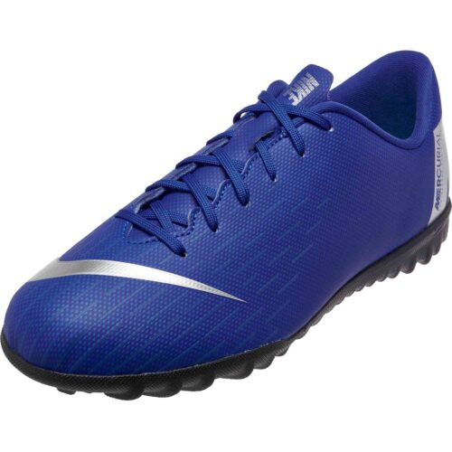 70def4c61 Youth Turf Soccer Shoes. Nike Mercurial VaporX 12 Academy TF – Youth –  Racer Blue Metallic Silver Black