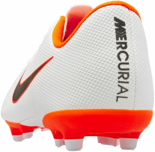 Nike Mercurial Vapor 12 Academy MG – Youth – White/Metallic Cool Grey/Total Orange