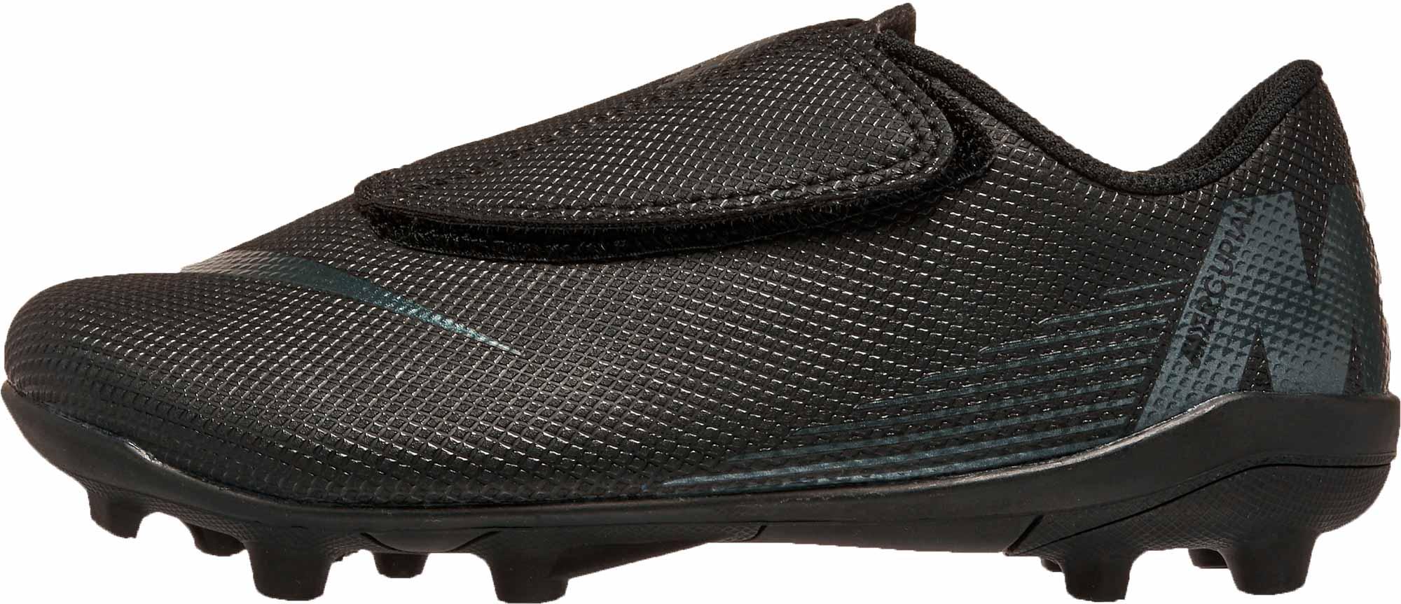pecho cinta Secreto  Nike Mercurial Vapor 12 Club MG (velcro) - Youth - Black/Black - Cleatsxp