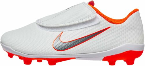 Nike Mercurial Vapor 12 Club MG – Youth (velcro) – White/Metallic Cool Grey/Total Orange