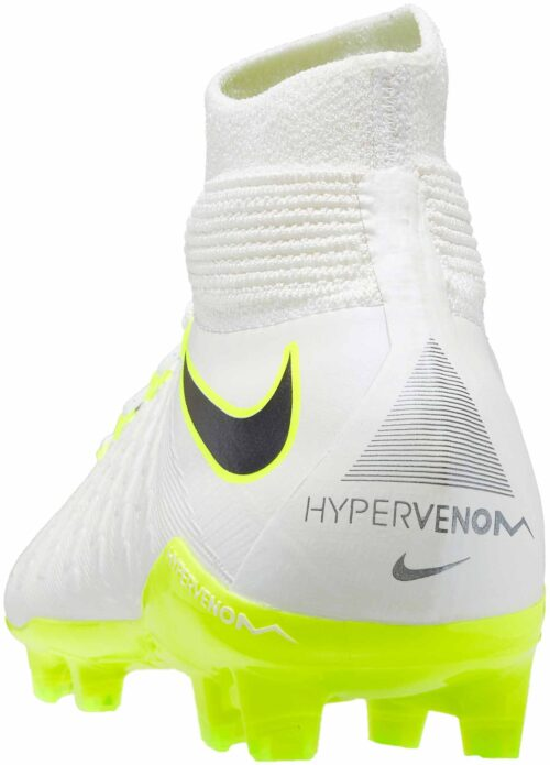 Nike Kids Hypervenom Phantom III Elite DF FG – White/Metallic Cool Grey