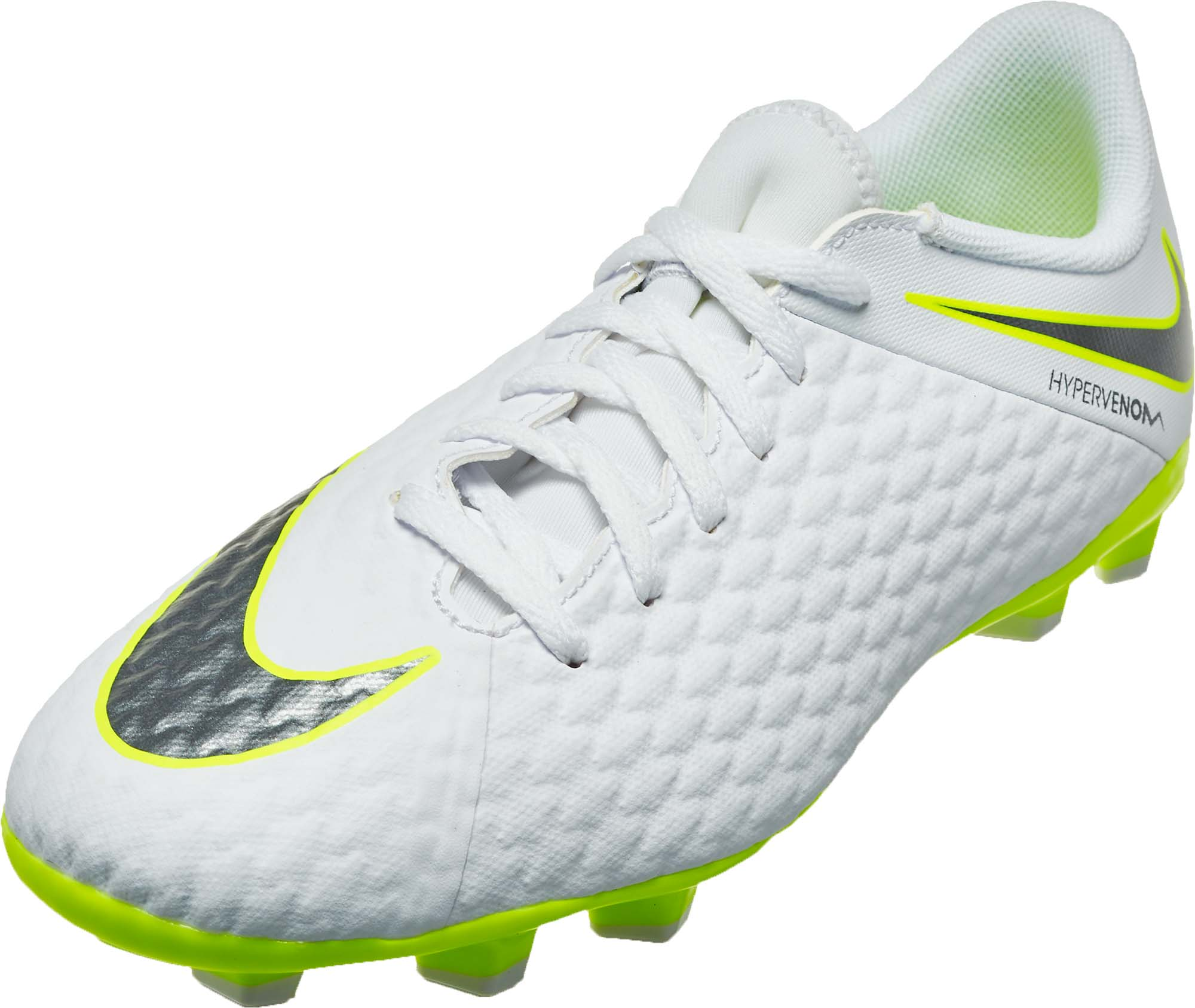 timeless design c83bc 0acf2 Nike Hypervenom Phantom 3 Academy FG – Youth – White/Volt