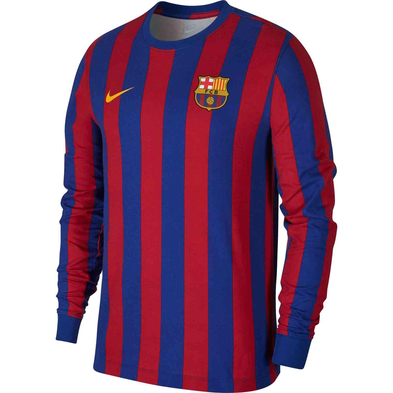 16720c55e Nike Barcelona L S Retro Tee - Deep Royal Blue Noble Red - SoccerPro