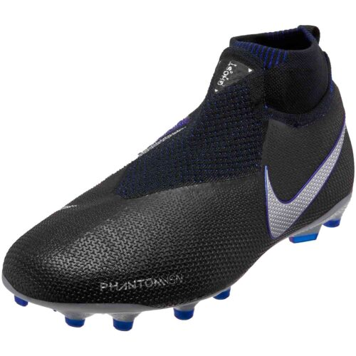 Nike Phantom Vision Elite MG – Youth – Black/Metallic Silver/Racer Blue