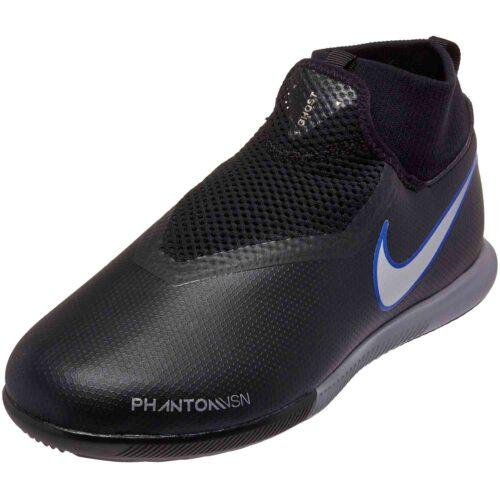 Nike Phantom Vision Academy DF IC – Youth – Black/Metallic Silver/Racer Blue
