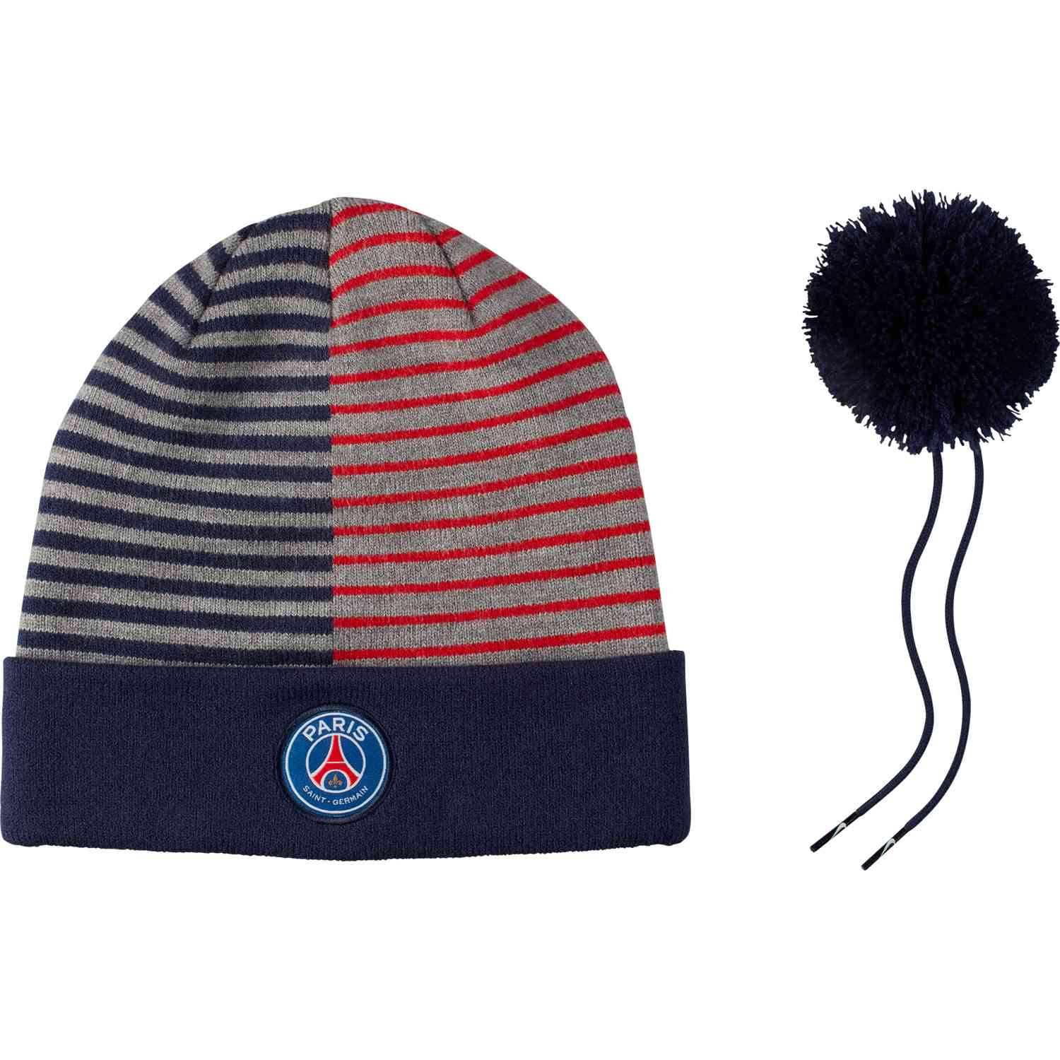 Nike PSG Striped Beanie - Midnight Navy Challenge Red - SoccerPro 5c8fd91bc1f