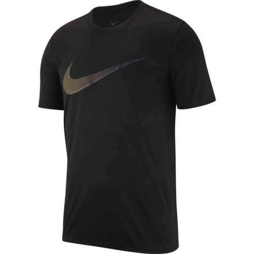 Nike Dri-Fit Cotton Swoosh Tee – Black/White