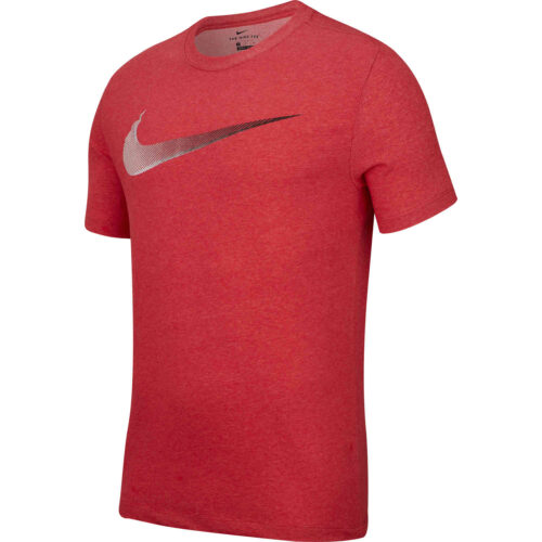 Nike Dri-Fit Cotton Swoosh Tee – Light University Red Heather