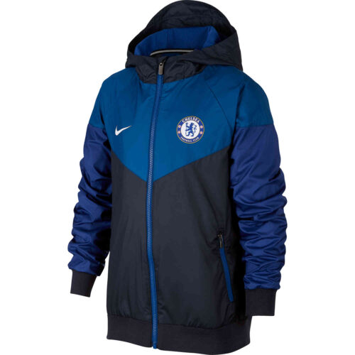 Kids Nike Chelsea Windrunner Jacket – Obsidian/Gym Blue/Rush Blue/White