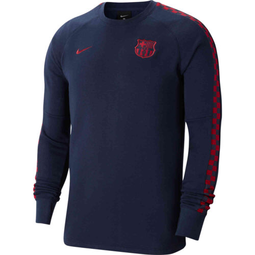Nike Barcelona L/S Fleece Crew – Obsidian/Noble Red