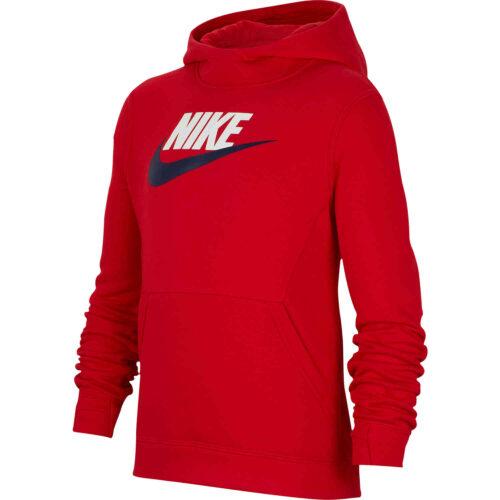 Kids Nike Sportswear Pullover Fleece Hoodie – University Red