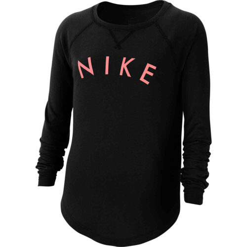 Girls Nike Dri-FIT L/S Tee – Black/Pink Gaze