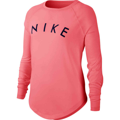 Girls Nike Dri-FIT L/S Tee – Pink Gaze/Blue Void