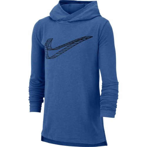 Kids Nike Breathe GFX L/S Hooded Training Top – Mountain Blue