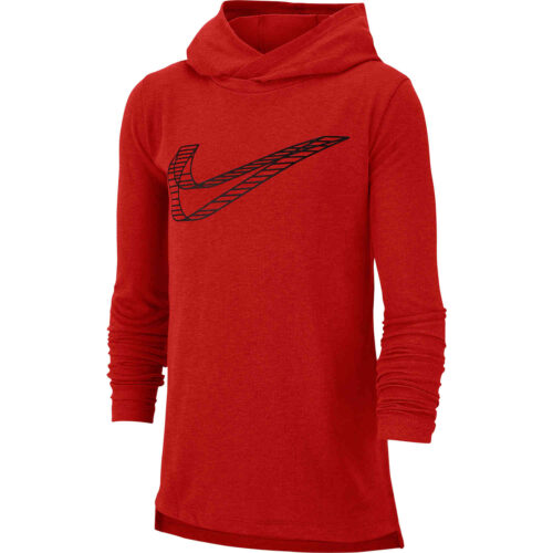 Kids Nike Breathe GFX L/S Hooded Training Top – University Red
